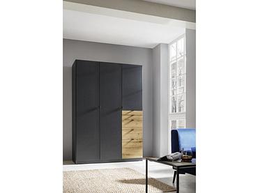 Armoire LOCARNO 3 portes battantes 5 tiroirs argenté