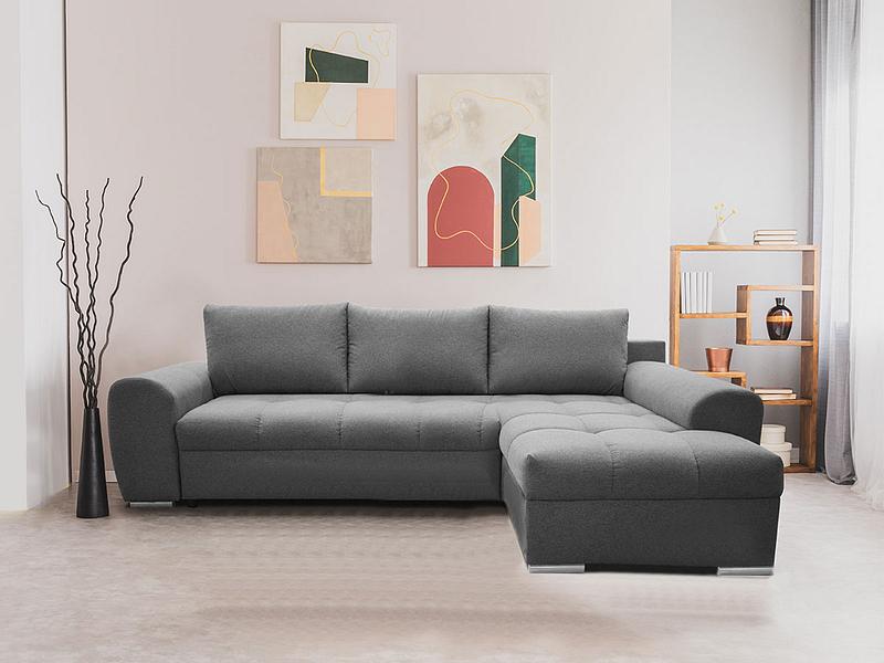 Canapé d'angle FLOW tissu gris