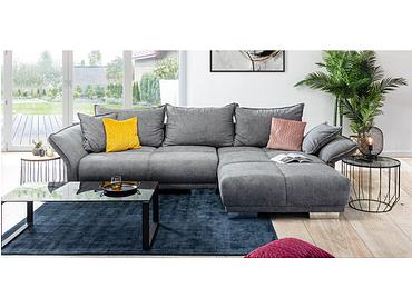 Canapé d'angle BOTEGA tissu gris