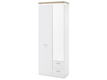 Armoire CALVI 2 portes 2 tiroirs blanc
