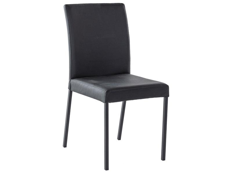 Chaise DORA cuir véritable noir