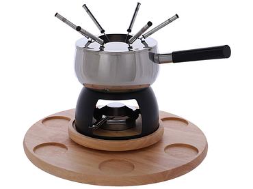 Set fondue WOOD inox gris