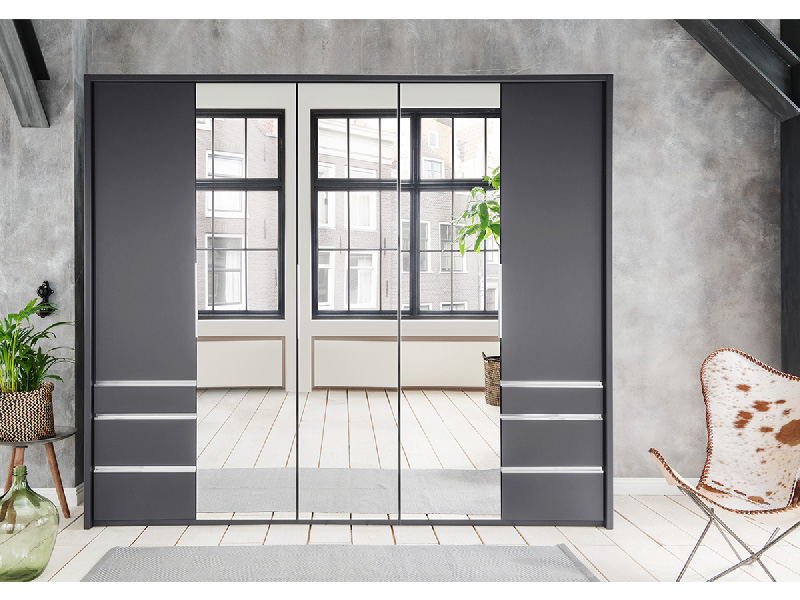 Armoire NANCY 5 portes pliantes 6 tiroirs gris anthracite