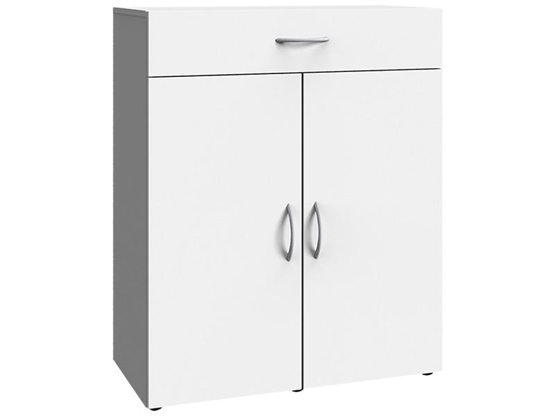 Commode MODUL 2 portes battantes 1 tiroir blanc