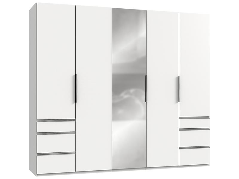 Armoire NANCY 5 portes battantes 6 tiroirs blanc