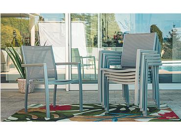 Chaise de jardin RIVIERA aluminium gris