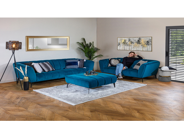 Canapé 2 places MANSON tissu bleu