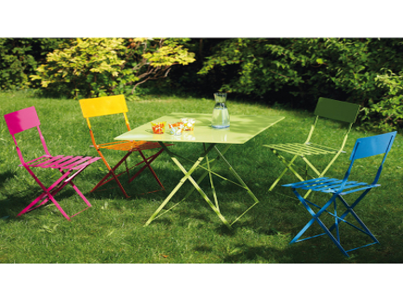 Chaise de jardin BARCELONA acier inoxydable bleu