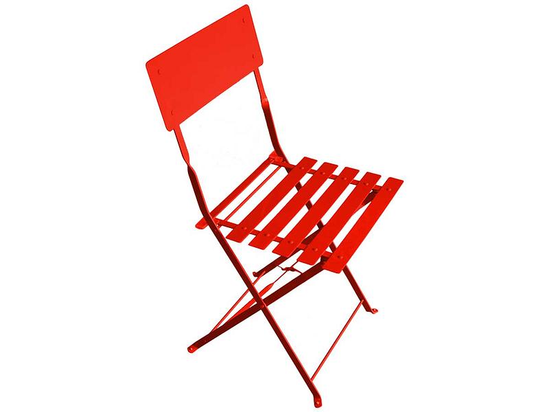 Chaise de jardin BARCELONA acier inoxydable rouge