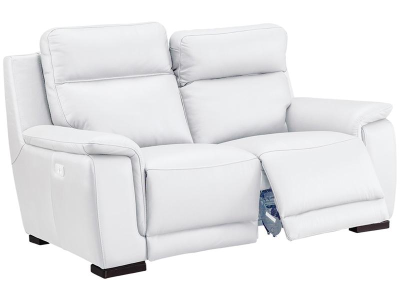 Canapé 2 places LOUVRE cuir véritable blanc