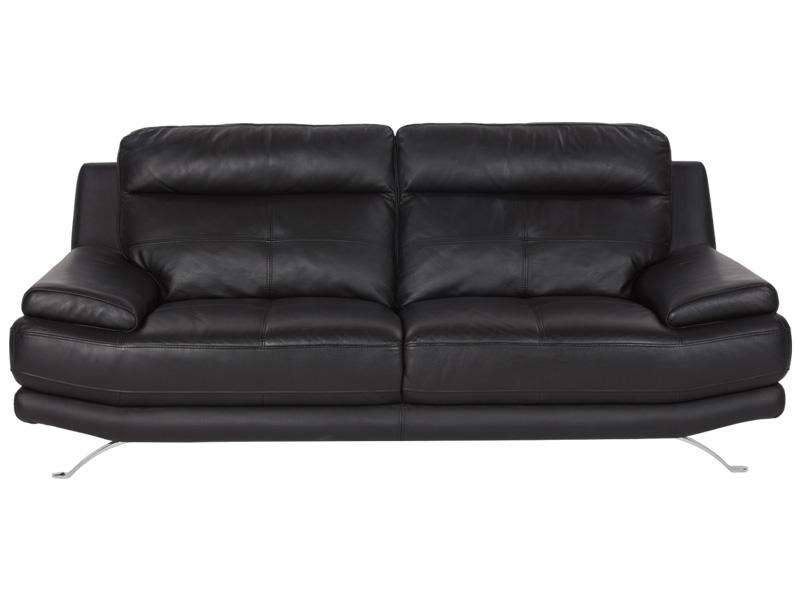Canapé 3 places DYLAN cuir véritable noir