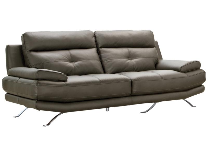 Canapé 3 places DYLAN cuir véritable gris