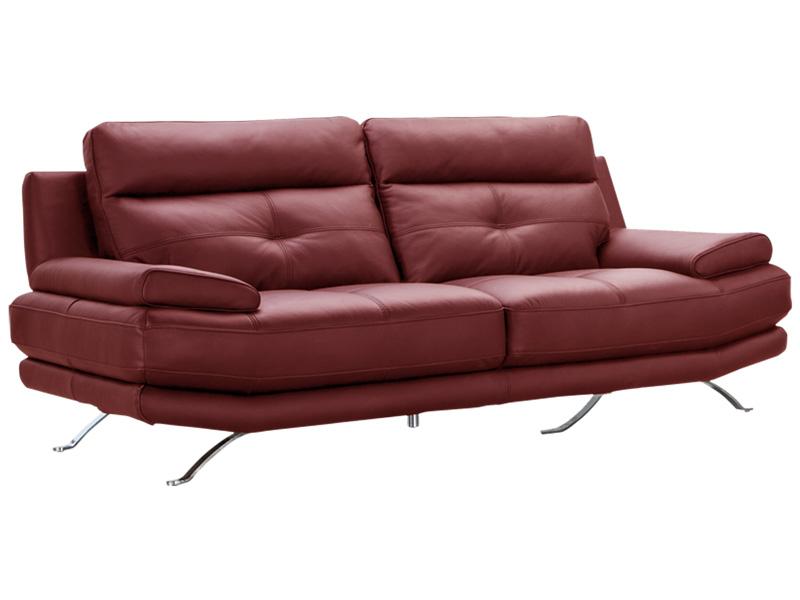 Canapé 3 places DYLAN cuir véritable rouge