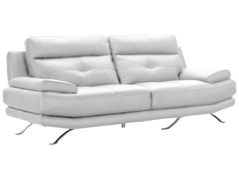 Canapé 2 places DYLAN cuir véritable blanc