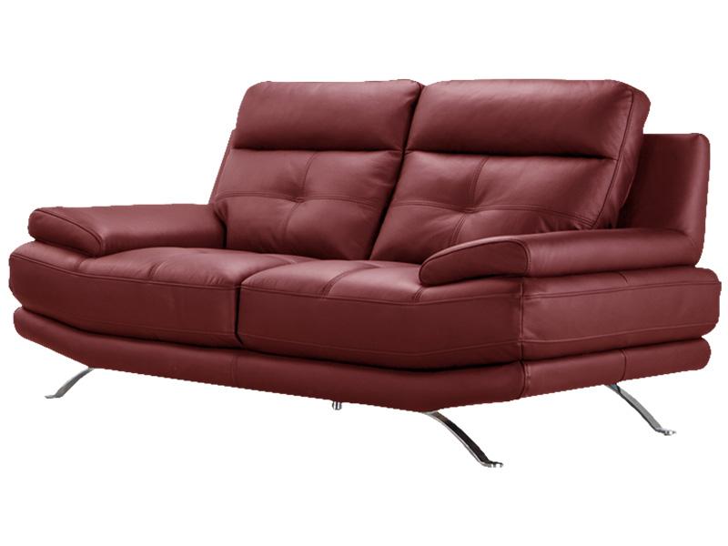 Canapé 2 places DYLAN cuir véritable rouge