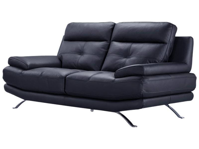 Canapé 2 places DYLAN cuir véritable noir