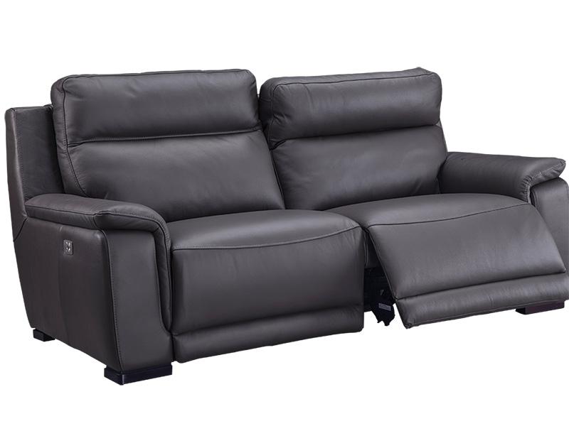 Canapé 3 places LOUVRE cuir véritable gris