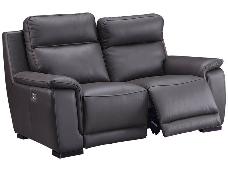 Canapé 2 places LOUVRE cuir véritable gris