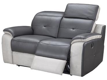 2er Sofa MIKE Echtleder grau