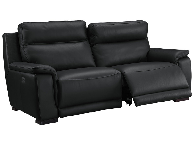 3er Sofa LOUVRE Echtleder schwarz