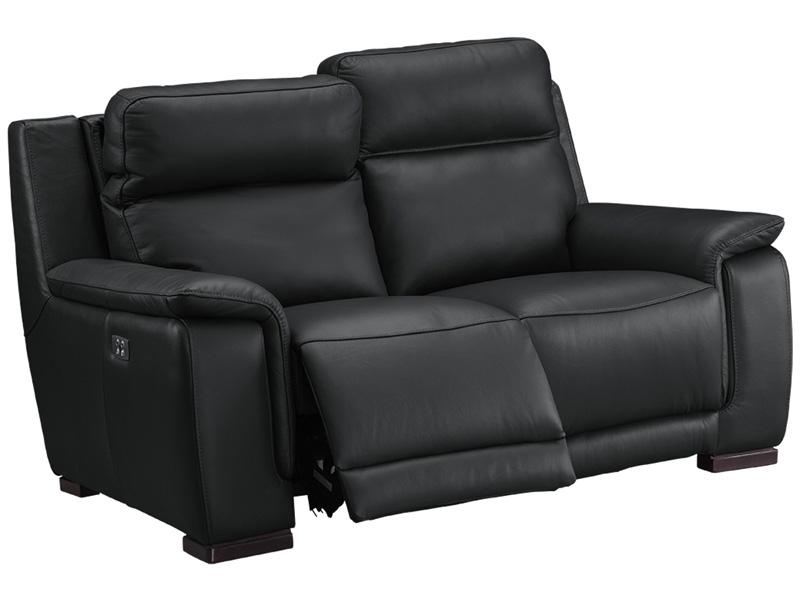 Canapé 2 places LOUVRE cuir véritable noir