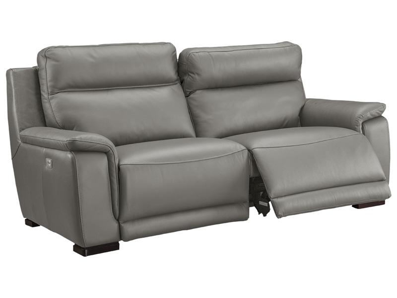 3er Sofa LOUVRE Echtleder grau