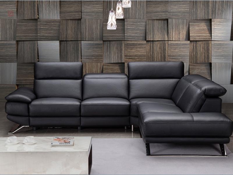 Canapé d'angle LORD cuir véritable noir