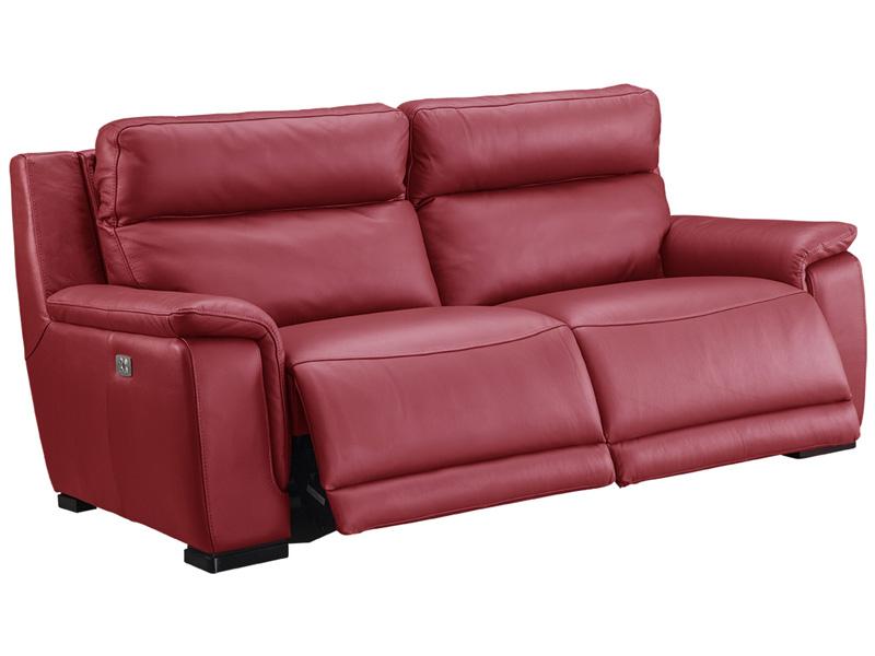 Canapé 3 places LOUVRE cuir véritable rouge