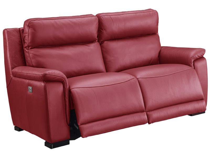 Canapé 2 places LOUVRE cuir véritable rouge