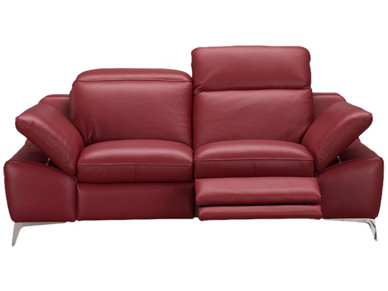 Canapé 2 places ROMEO cuir véritable rouge