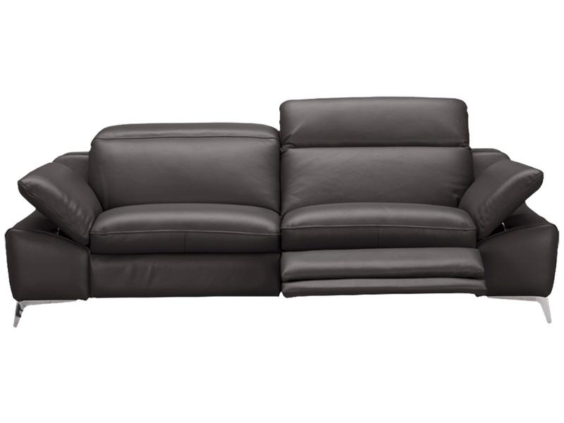 Canapé 3 places ROMEO cuir véritable gris foncé