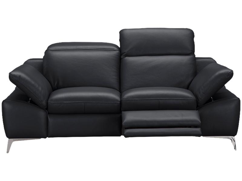 Canapé 2 places ROMEO cuir véritable noir