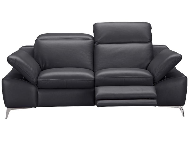 Canapé 2 places ROMEO cuir véritable gris