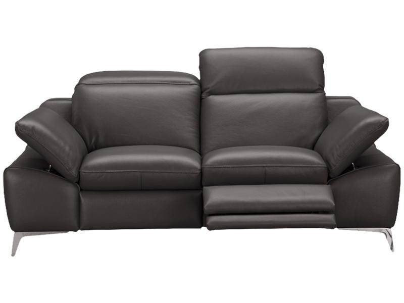 Canapé 2 places ROMEO cuir véritable gris foncé