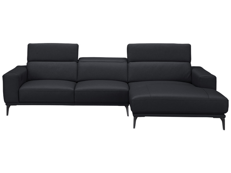 Canapé d'angle LINO cuir véritable noir
