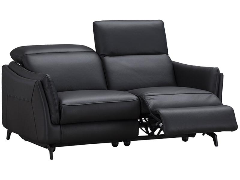Canapé 2 places CAMARO 100% cuir noir