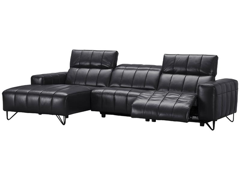 Canapé d'angle ANGELA 100% cuir noir