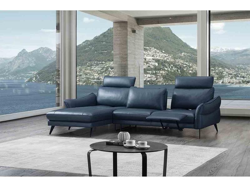 Canapé d'angle SILVIA cuir véritable noir