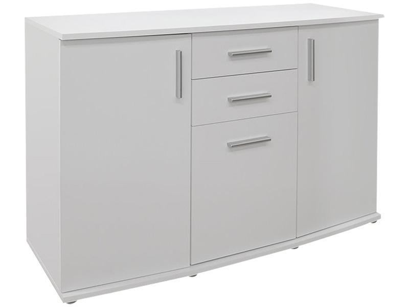 Commode RONDO 3 portes 2 tiroirs blanc