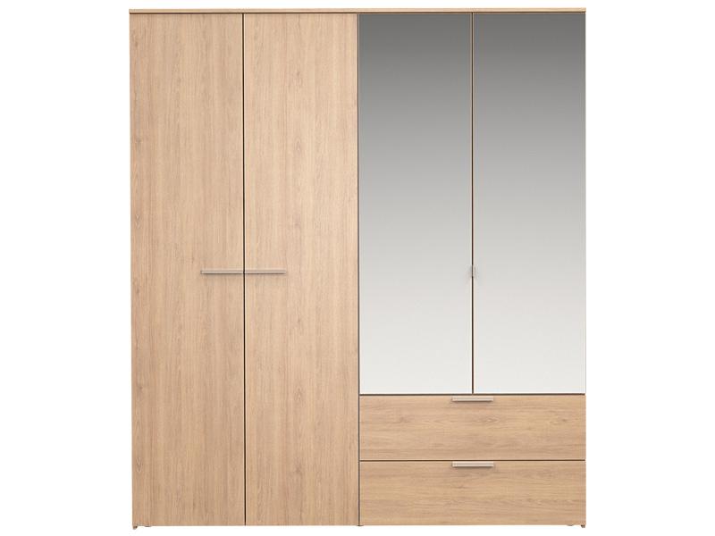Armoire TEMPO 4 portes battantes 2 tiroirs chêne