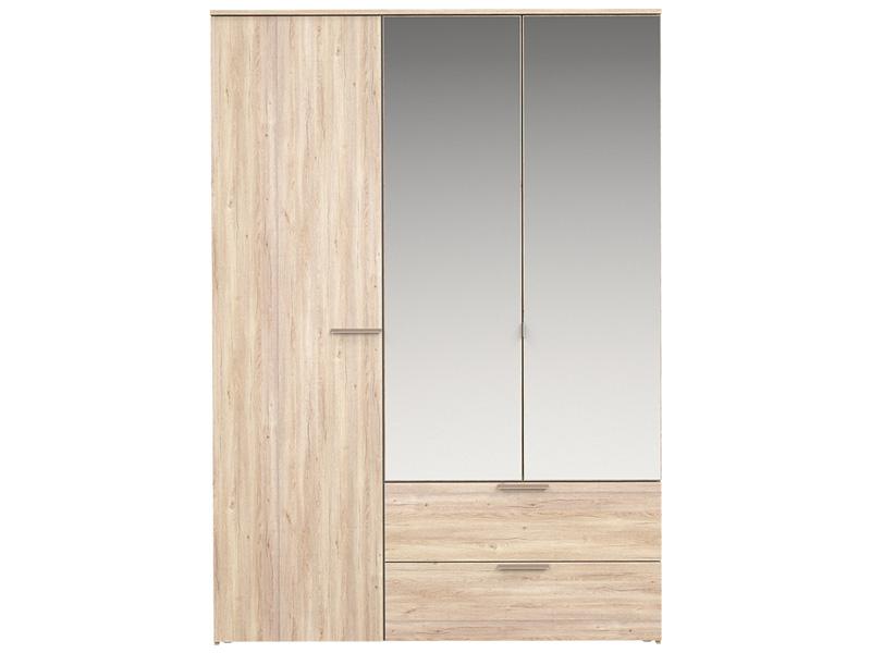 Armoire TEMPO 3 portes battantes 2 tiroirs chêne