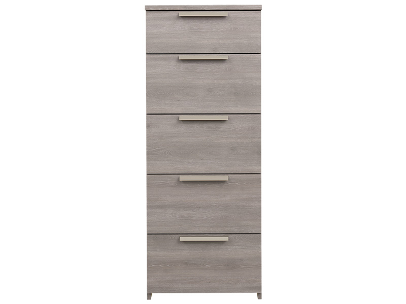 Commode TEMPO 5 tiroirs chêne argile
