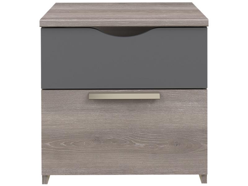Nachttisch TEMPO POP 2 Schubladen Spanplatte eiche ton, grau