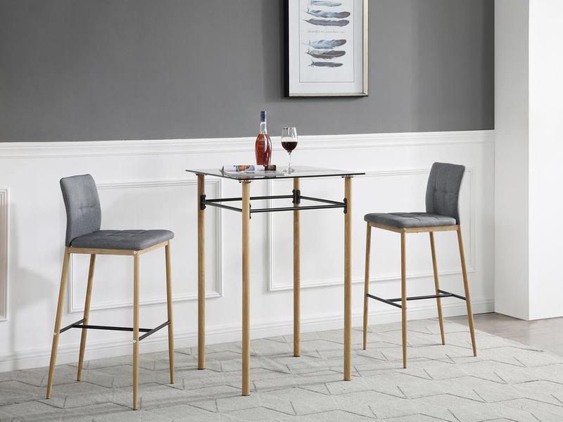 Set Tisch und 2 Hocker DIABOLO Metall, Glas, Stoff grau