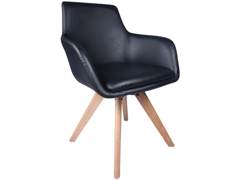 Stuhl TOE Synthetisches Leder schwarz, buche