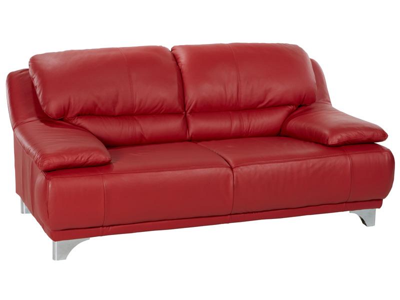 2er Sofa MARANELLO Echtleder rot