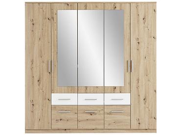 Armoire FLORA 5 portes battantes 6 tiroirs chêne, blanc