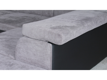 Ecksofa ELIOTT Stoff,Synthetisches Leder grau