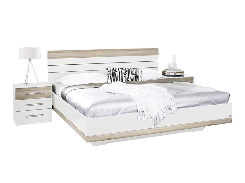 Set Bett mit 2 nachttischen TARRAGONA 160x200cm Dekor eiche