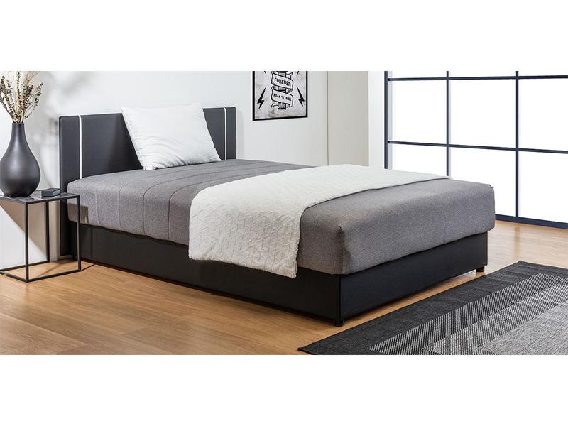 Bett mit hochklappbarem Einlegerahmen TESSIN 140x200cm Stoff schwarz